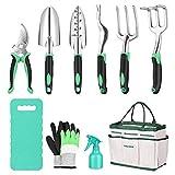 VEVICE Gartenwerkzeug Set Frauen, 10-teiliges Gartengeräte Set Gartenset Werkzeuge,...