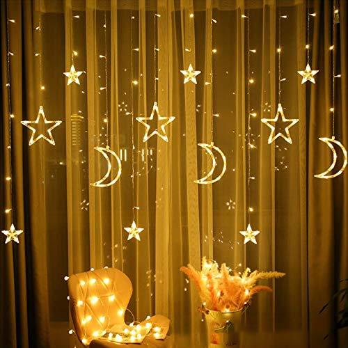 LED Lichterketten 3,5 m Star Moon LED Vorhang Lichter Girlande Hochzeit Dekorationen für...