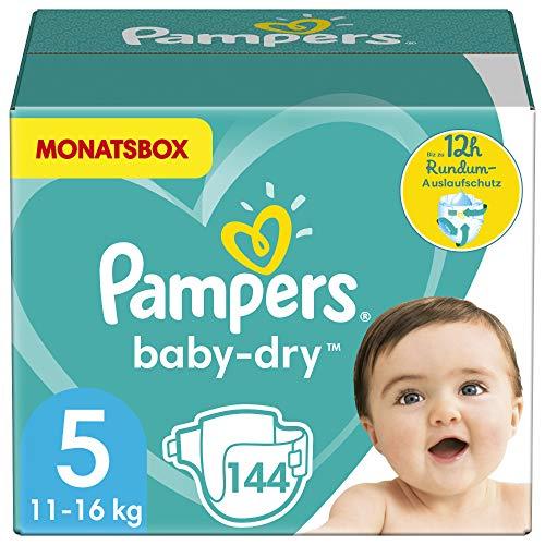Pampers Größe 5 Baby Dry Windeln, 144 Stück, MONATSBOX, Für Atmungsaktive Trockenheit...