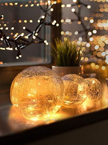 LED Glaskugel 3er Set - Exklusive Größe, Warmweiß, inkl. Timer und Kratzschutz - 10, 12...