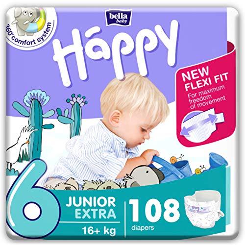 bella baby Happy Windeln Größe 6 Junior Extra 16+ kg, 1er Pack (1 x 108 Stück) mit...