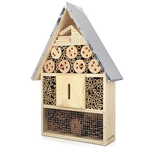 Navaris Insektenhotel aus Holz - Naturbelassenes Insekten Hotel für Fluginsekten - für...