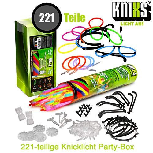 KNIXS Mega Knicklichter Party-Pack / Set im 6-Farb-Mix - 221 Teile für Party, Disko,...