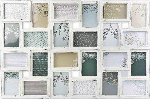 Gallery Solutions Bilderrahmen Collage 24 Fotos à 10x15 cm, Weiß Antik, Außenformat:...