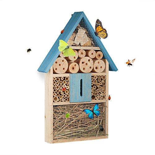 Relaxdays Insektenhotel für Schmetterlinge, Käfer, Bienenhaus zum Aufhängen, Garten,...