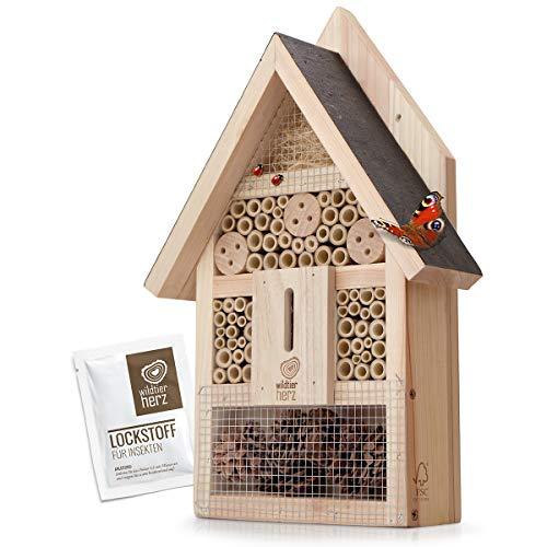 wildtier herz   Insektenhotel - Groß unbehandelt inkl. Lockstoff, Insektenhaus aus...