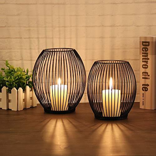 GoMaihe Oval Kerzenständer 2er Set, 14 x 15.5cm und 16 x 18cm Kerzenhalter Stabkerze...