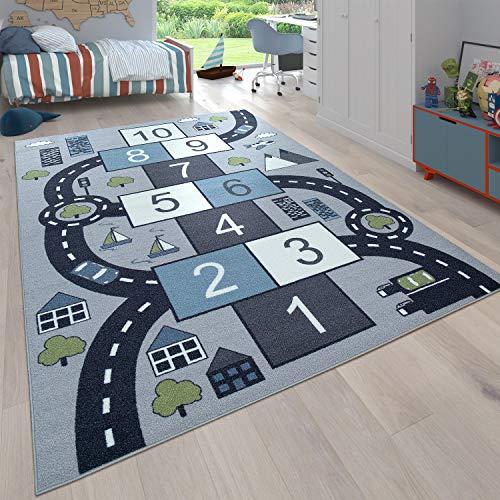 Paco Home Kinder-Teppich Für Kinderzimmer, Spiel-Teppich Mit Hüpfkästchen und Straßen,...