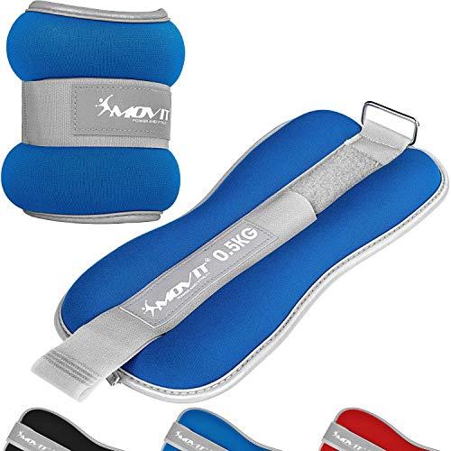Movit® 2er Set Gewichtsmanschetten Neopren mit Reflektormaterial und Frottee-Einsatz...