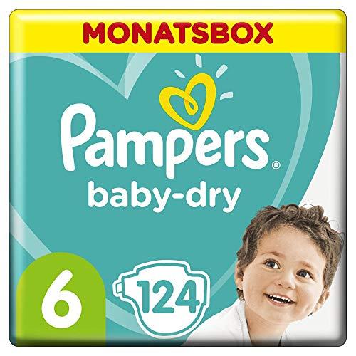 Pampers Baby-Dry Windeln, Gr. 6, 13-18kg, Monatsbox ( 1 x 124 Windeln), bis zu 12 Stunden...
