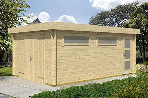 Holzgarage H152 inkl. Holztor - 44 mm Blockbohlenhaus, Grundfläche: 19,40 m², Flachdach
