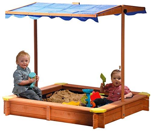 dobar 94350FSC - Sandkasten aus FSC-Holz, Dach höhenverstellbar und neigbar mit UV...