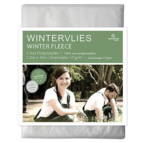 Prolifiqs Wintervlies für Pflanzen 17g I 1,5 x 10m I Thermovlies/Frostschutz Überwintern...