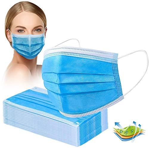 Crom Cr2 Masken Mundschutz - Farbe : BLAU/SCHWARZ - Mundschutz 50 Stück, 3-lagige Masken,...