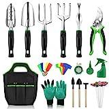 Anykuu Gartenwerkzeug Set 18 Stück Gartengeräte Werkzeugbeutel Garten zum Pflanzen...