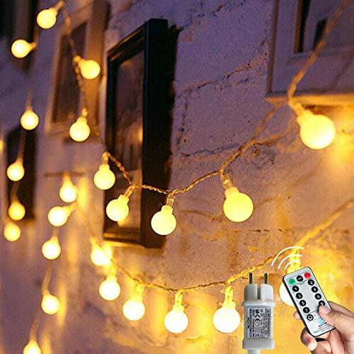 [120 LED] Lichterkette Kugel, 12M 8 Modi und Merk Funktion,lichterketten außen/innen mit...