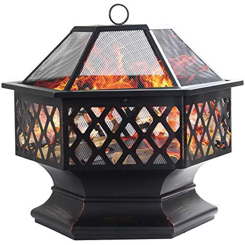 Dawoo Feuerschale für den Außenbereich, sechseckiger Feuerkorb Garten...