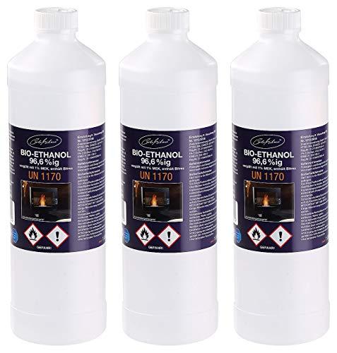Carlo Milano Feuerstelle Ethanol: Bio-Ethanol/Bio-Alkohol f. Deko-Kamine, 3X 1...
