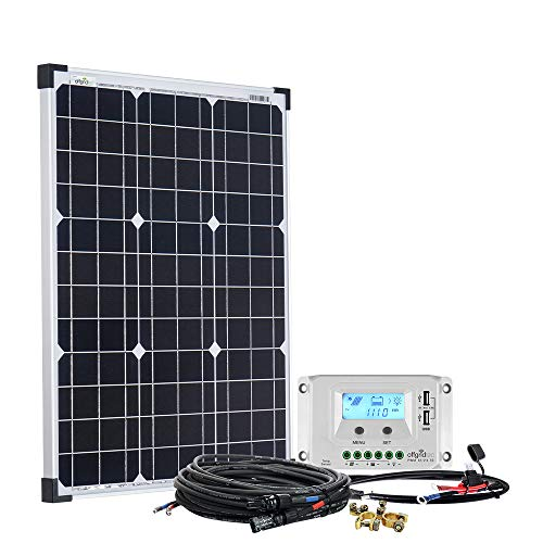 Offgridtec Solaranlage basicPremium-S 50W mit 10A LCD Laderegler Profi Kabelkit