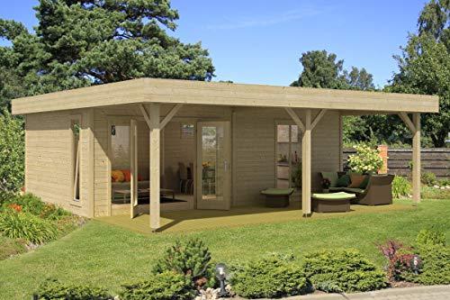 Gartenhaus G149 inkl. Fußboden und Schleppdach - 44 mm Blockbohlenhaus, Grundfläche:...
