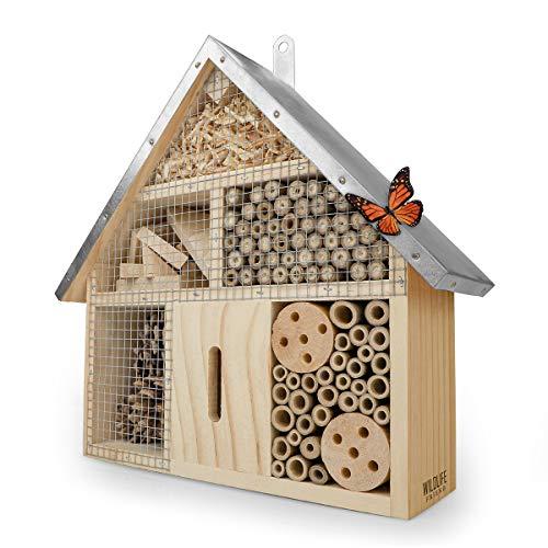 WILDLIFE FRIEND I Insektenhotel mit Metalldach - unbehandelt, Insektenhaus aus Naturholz...