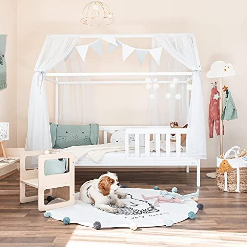 Alcube® Hausbett 160x80 cm - Kinderbett mit Rausfallschutz & Lattenrost - Holz Kinder...