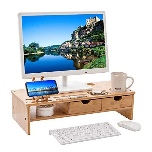 Novhome Monitorständer aus Bambus ergonomischer mit 2 Schubladen und Telefonhalter...