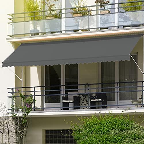 ML-Design Klemmmarkise 250 x 120 cm, Grau, höhenverstellbar, ohne Bohren, UV-beständig,...
