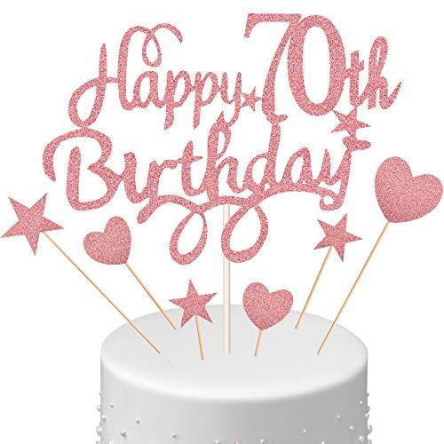 70. Geburtstagstorte Topper Set, Happy 70th Birthday Kuchen Topper mit Herz Stern Cupcake...