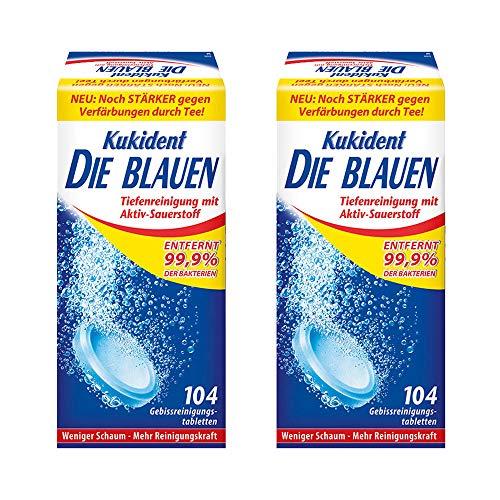 Kukident Die Blauen Gebissreinigungstabletten Gebissreiniger Reiniger 2er Pack (2 x 104...