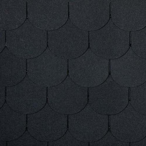 Bitumen Dachschindeln, Biberschwanz schwarz, 21 Stück (für 3m² Dachfläche)...