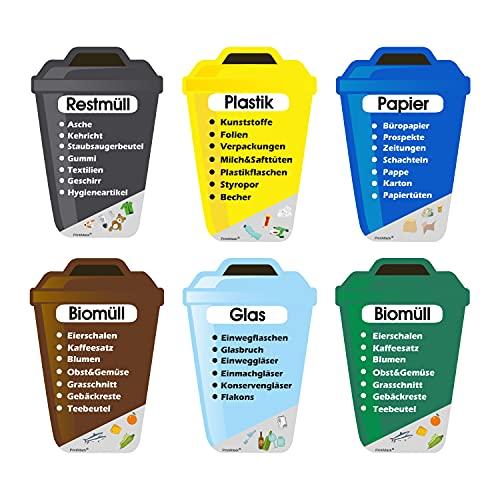 PrintAttack P038 6er Set Mülltrennung Aufkleber Kratz, Wetter & UV beständig