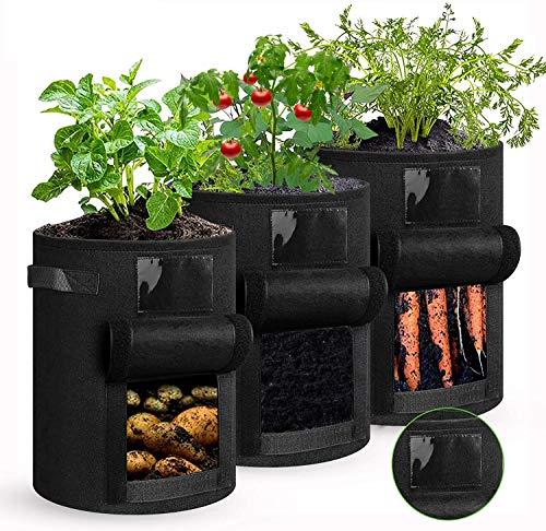 shengda wei 3 Stück Kartoffel Pflanzsack, 7 Gallonen Pflanzen Tasche mit Griffen, Blumen...