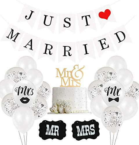 Just Married Hochzeit Deko Set, 30 Weiß Ballon, 10 Just Married Luftballons, 2 Schilder...