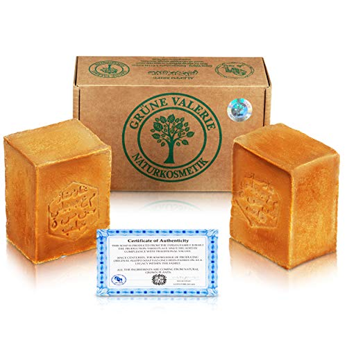 Grüne Valerie® Original Aleppo Seife Set 2 x 200g (400g) mit 20%/80%...