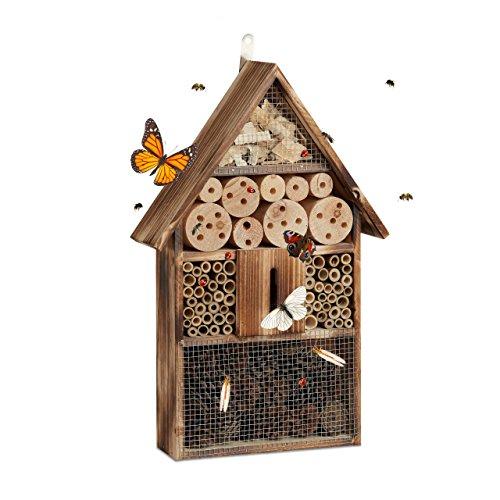 Relaxdays Insektenhotel 50 cm groß, Zum Aufhängen, Bienenhotel und Schmetterlingshaus,...
