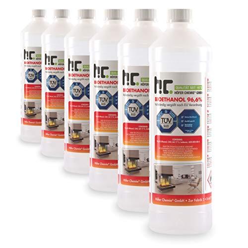 Höfer Chemie 6 x 1 L Bioethanol 96,6% Premium - TÜV SÜD zertifizierte QUALITÄT - für...