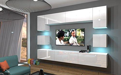 Home Direct NOWARA N1, Modernes Wohnzimmer, Wohnwände, Wohnschränke, Schrankwand (Weiß...