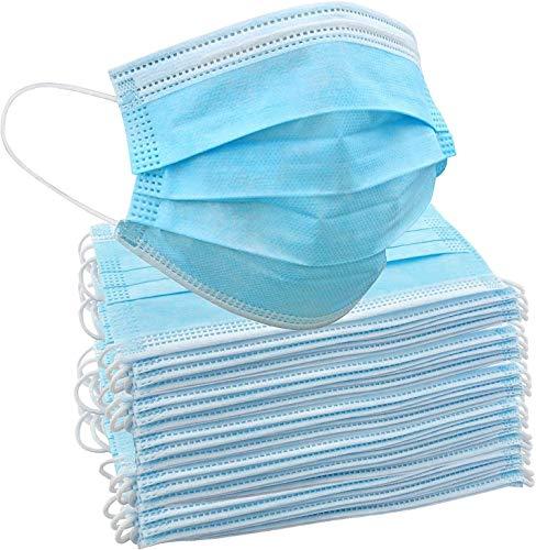 50 Einweg-Gesichtsmasken | Schützende Mund-Nasen-Bedeckung mit 3-lagigem Mundschutz,...