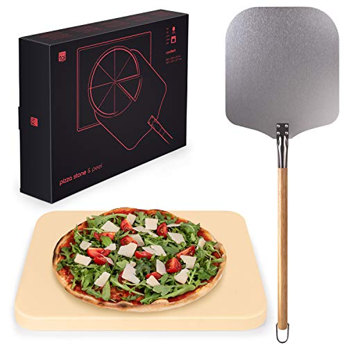 Blumtal Pizzastein Gasgrill & Pizzasschieber - Pizzastein aus Cordierit für Backofen,...