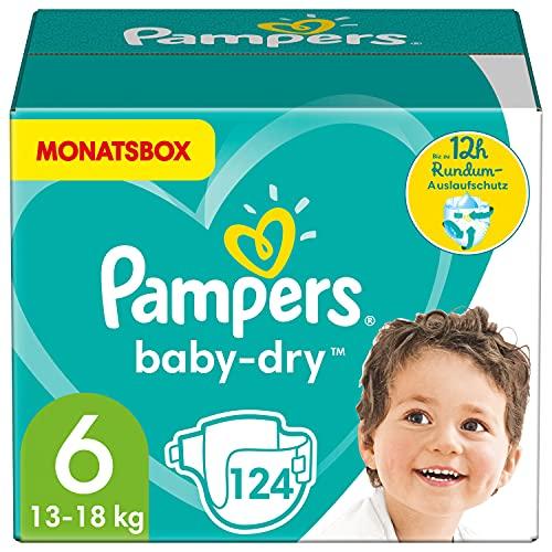 Pampers Windeln Größe 6 (13-18kg) Baby Dry, 124 Stück, MONATSBOX, Bis Zu 12Stunden...