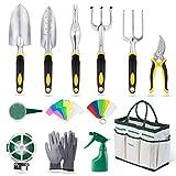 YISSVIC Gartenwerkzeug Set 12-teiliges Gartengeräte Set Gartenschere Gartenhandschuhe...