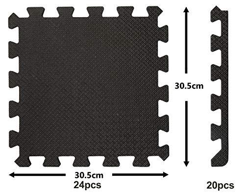 24 St. Bodenschutzmatte Fitness, mit Rand 20 St; Schwarz Viereckig je 30,5x30,5cm, 1cm...