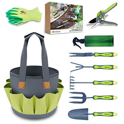 Hortem Gartenwerkzeug Set, Langlebige Gartengeräte mit Ergonomischem Griff und Löchern...