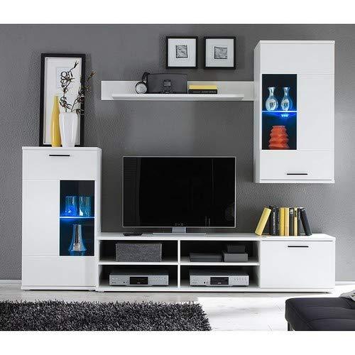 Stella Trading Frontal Wohnwand, Holzdekor, Weiß, (B/H/T) 230 x 185 x 38 cm