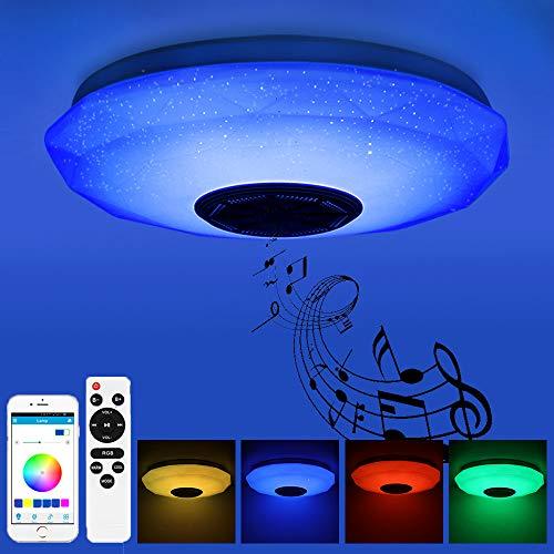 Prenine 36W LED Musik Deckenleuchte Dimmbar mit Bluetooth Lautsprecher 3400LM, RGB...