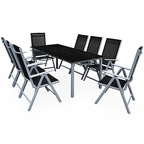 Deuba Sitzgruppe Bern 8+1 Aluminium 7-Fach verstellbare Hochlehner Stühle Tisch mit...