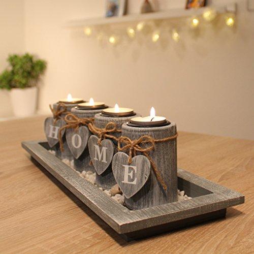 dszapaci Teelichthalter-Set Holz Tablett Landhaus Tischdekoration Windlicht...
