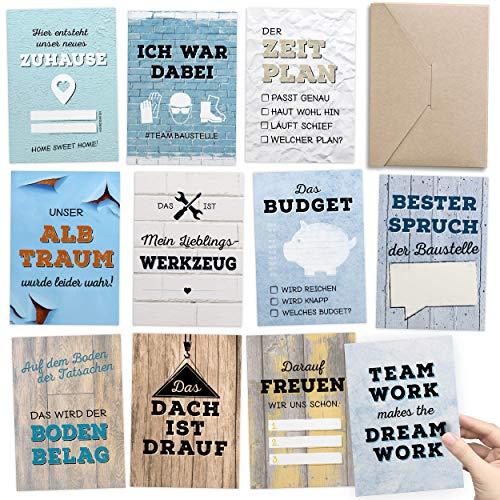 Geschenk für Bauherr & Bauherrin - 30+1 Meilensteinkarten Hausbau als Bautagebuch für...