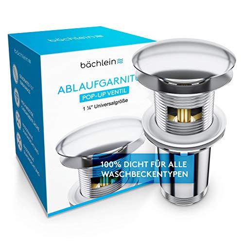 Bächlein Universal Ablaufgarnitur mit Überlauf für Waschbecken & Waschtisch - Chrom Pop...